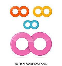 colorido, vector, infinito, símbolos, Conjunto,...