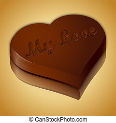 Chocolate heart on golden mirror