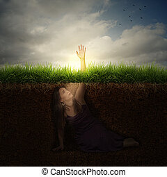 Woman reaching for help - A woman buried under ground...