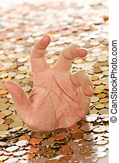 Drowning in debt concept - man hand trying to get a grasp,...
