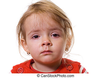 Little girl with a severe flu and red eyes - isolated