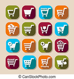 shopping basket long shadows icons - Shopping Cart Long...