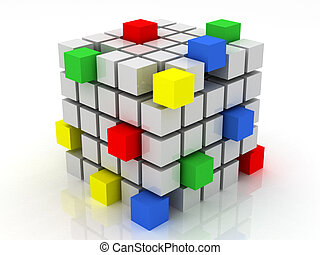 cube assembling from blocks on a white background