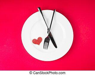 restaurant series, valentine day dinner on red background -...