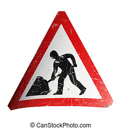 Road work sign isolated over a white background