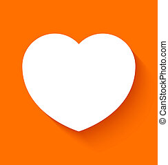 Paper heart on orange background - Paper heart icon in flat...