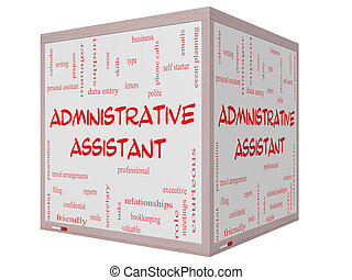 Administrative Assistant Word Cloud Concept on a 3D cube...