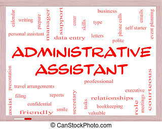 Administrative Assistant Word Cloud Concept on a Whiteboard...