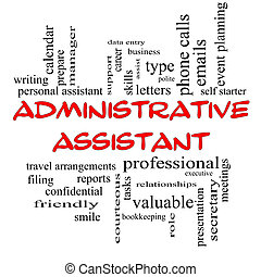 Administrative Assistant Word Cloud Concept in red caps with...
