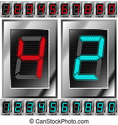 set of electronic digits. red and blue numbers on a dark...