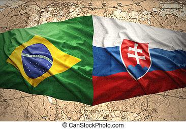 Slovakia and Brazil - Waving Slovak and Brazilian flags of...