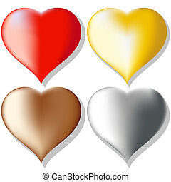 hearts set - a set of colored hearts. Gradient mash