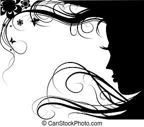 girl with fluttering hair - Background with silhouette...