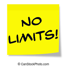 No Limits Sticky Note - No Limits written on a yellow Sticky...