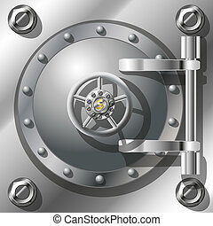 Bank Vault Door, detailed vector illustration. Radient mash