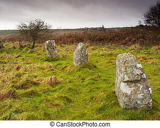 piedra, círculo,  boscawen-un