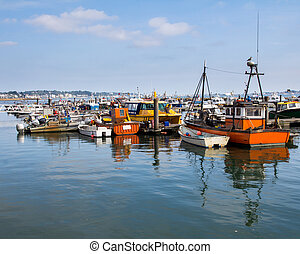 Poole Harbour Dorset - Boats in Poole Harbour Dorset England...