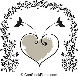 birds-with-a-heart - Is a EPS 10 Illustrator file without...