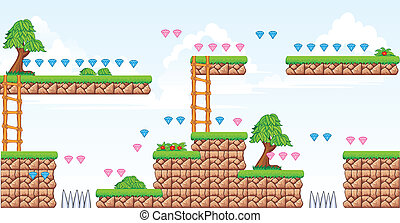 2D Tileset Platform Game - A set of vector game asset,...
