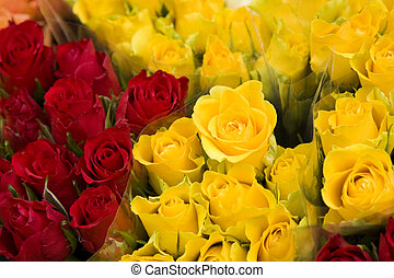 Assortment of Red and Yellow Roses