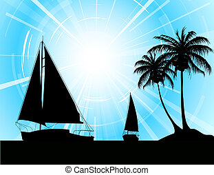 Yachts on the ocean - summer holiday background