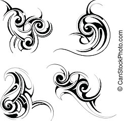 Tribal art - Set of various tribal art tattoo ornaments...
