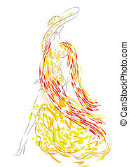 fashion illustration female silhouette on a white background...