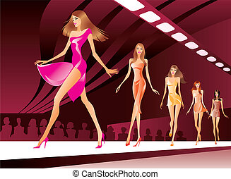 Fashion models on review - vector illustration
