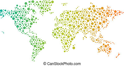 Abstract World connections map with circles, lines and color...