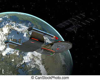 Galaxy Class Star Cruiser - A space vehicle stays near the...