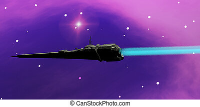 Starcruiser - A spaceship blazes its way through space with...