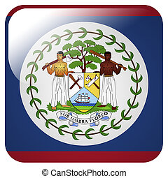 Glossy icon with flag of Belize