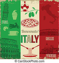 Italy travel poster - Italy travel grunge seamless pattern...
