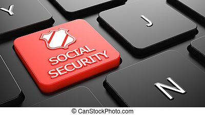 Social Security on Red Keyboard Button - Social Security...
