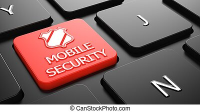 Mobile Security on Red Keyboard Button.