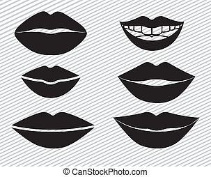 mouth design over lineal background vector illustration