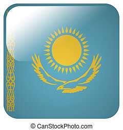 Glossy icon with flag of Kazakhstan