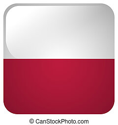 Glossy icon with flag of Poland