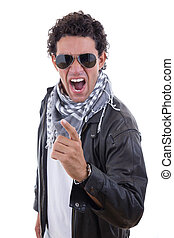 man in a leather jacket with sunglasses yelling