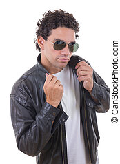 man in a leather jacket with sunglasses