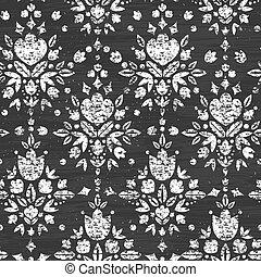 Chalk textured floral damask seamless pattern background -...