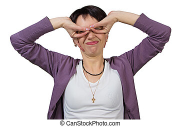Woman making faces - Funny woman making faces - isolated...