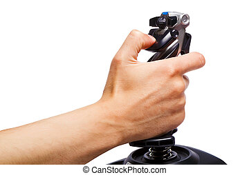 hand joystick control flight simulator on a white background