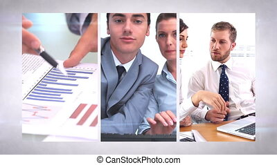 Business team montage - Business team working together...