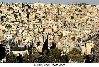 Birds eye view of Amman,Jordan from opposite citadel