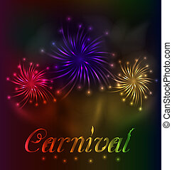 Colorful fireworks background for Carnival party -...