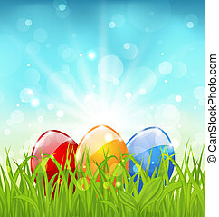 April background with Easter colorful eggs - Illustration...