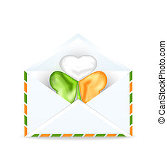 Envelope with clover in Irish flag color for St. Patrick's Day