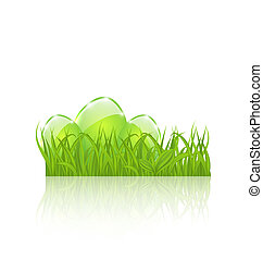 Easter set eggs in green grass isolated on white background