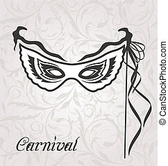 Venetian carnival or theater mask with ribbons -...